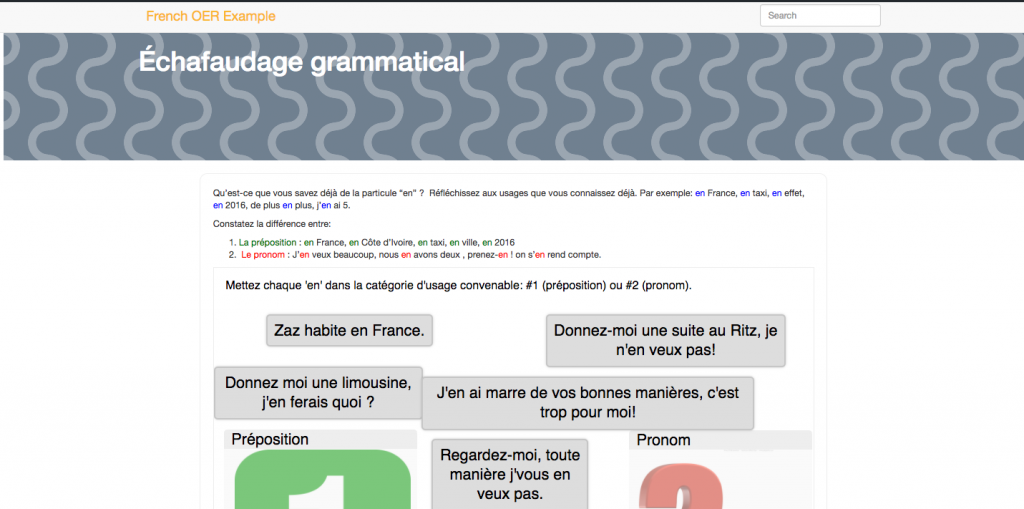 A screenshot of a world language site that's using H5P interactive elements.